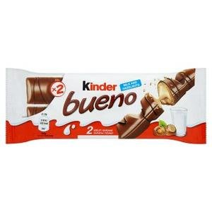Kinder Bueno - oblátky plnené mlieč.a lieskovcovou náplňou v mlieč.čokoláde 43g