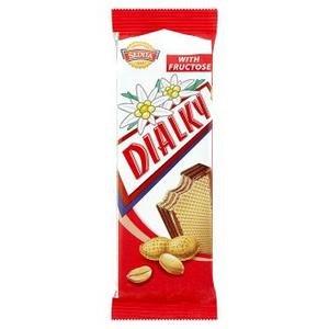Dialky oblátky s arašídovou náplňou v kakaovej poleve so sladidlom 40g
