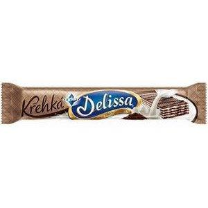 """Delissa """"Krehká"""" 34g-kakaová oblátka s mliečnou náplňou zdobená horkou čokolád."""