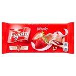 Figaro Mliečna čokoláda s mlieč.náplňou s jahod.príchuťou a jahodovou náplň. 90g