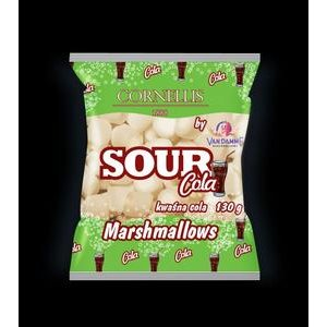 Marshmallows Sour Cola Cornellis - penové cukríky s kysl.práškom na povrchu 130g