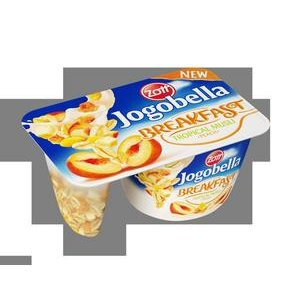 Jogobella Breakfast Tropic müsli 125g-ovoc.jogurt (jahoda/broskyňa) s topic.müsli