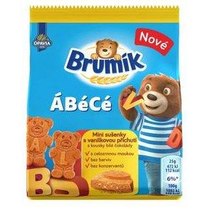 Opavia Brumík ÁBéCé Vanilkový - celozrnné sušienky s kúskami bielej čokolády 25g