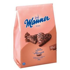 Manner Rum Herzen - Kakao-rumové oblátky v čokoláde 300 g