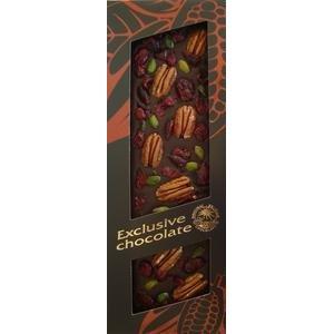 Excluzív - horkáí čopkoláda s Pekanovými orechmi, Pistáciami a Brusnicami 120 g