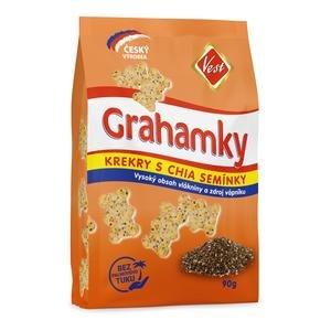 Grahamky Vest - krekery s celozrnnou múkou, otrubami a s chia semienkami 90 g