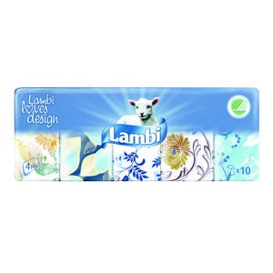 Papierové vreckovky Lambi - 4 vrstvé 10 x 10 ks